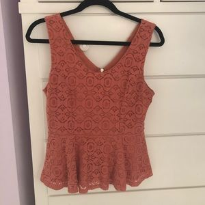 Forever 21 Coral Lace Tank Top